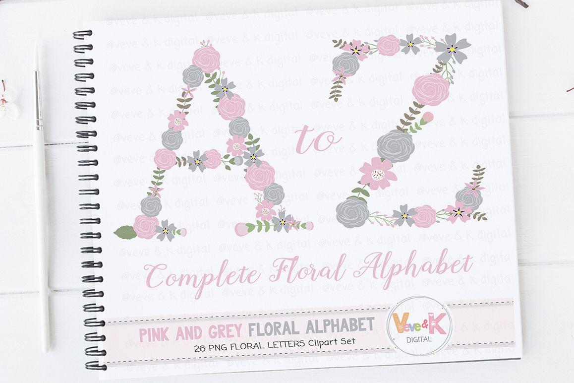 Floral Letters Clipart Floral Alphabet  Design Bundles