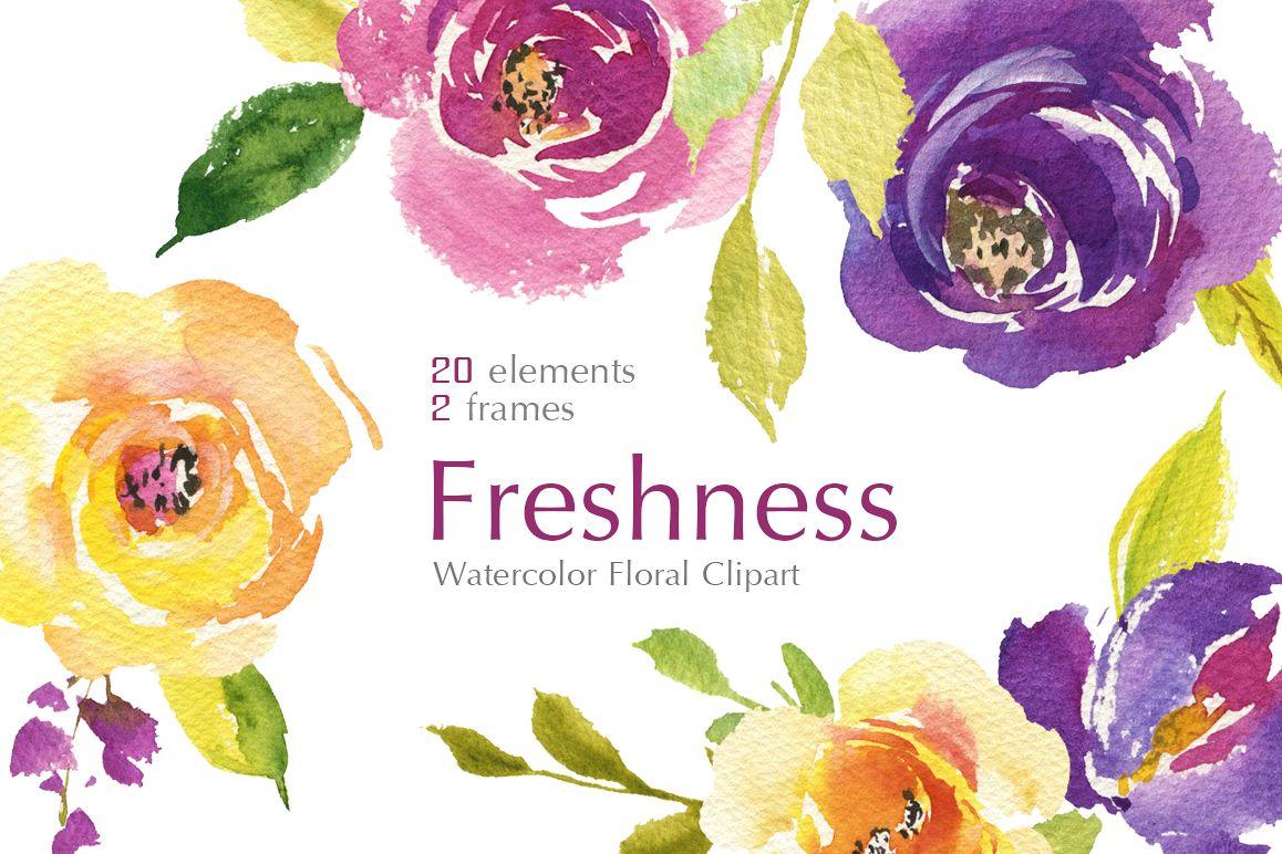 Bright Watercolor Purple And Yellow Ros Design Bundles
