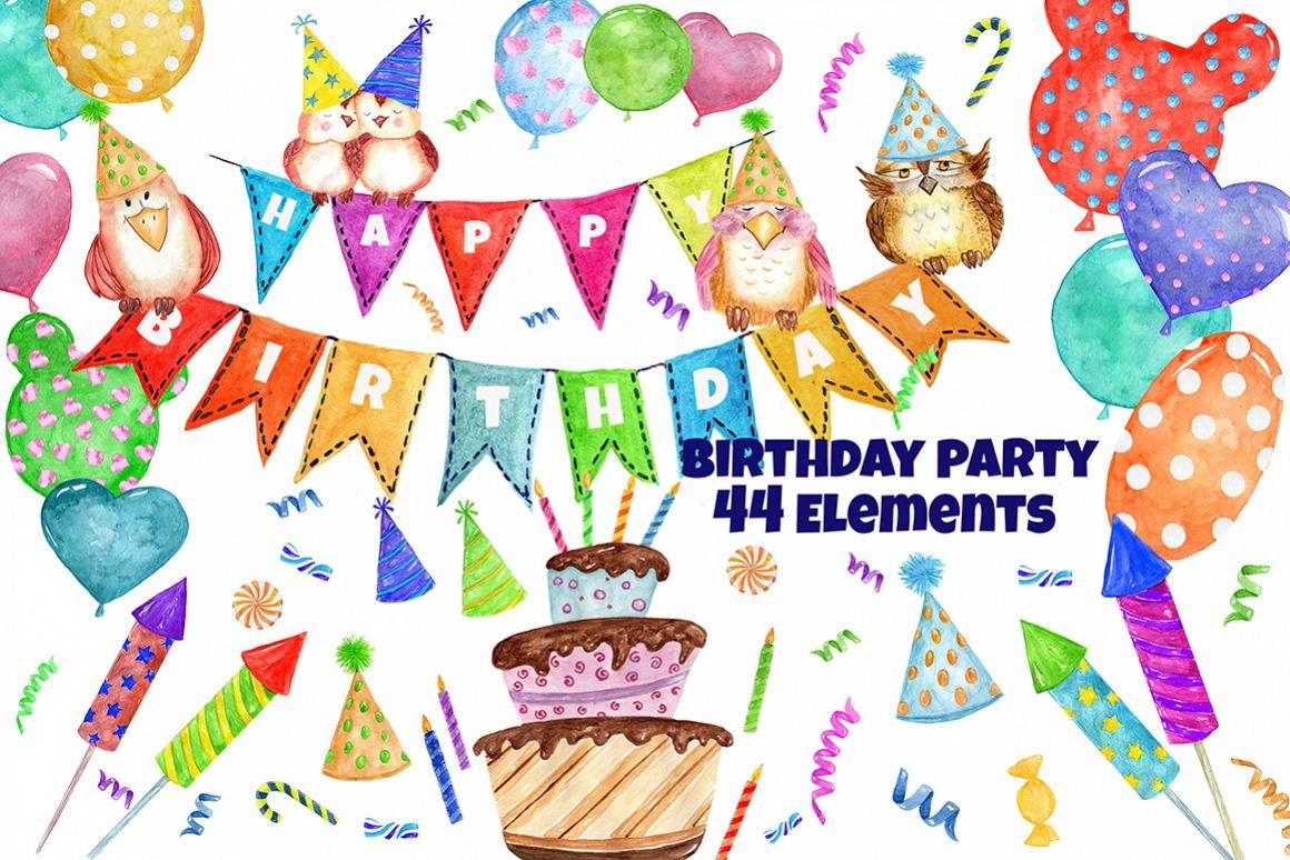 Watercolor Birthday Party Clipart by Vi Design Bundles