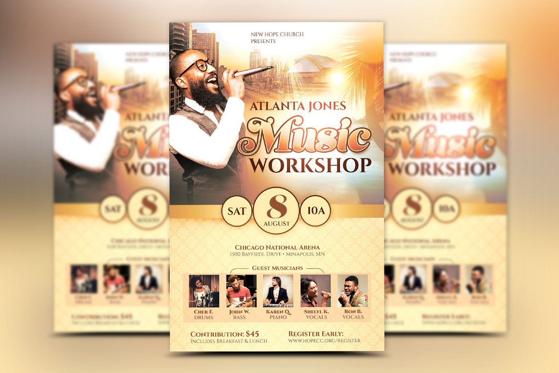 church music workshop flyer template by design bundles. Black Bedroom Furniture Sets. Home Design Ideas