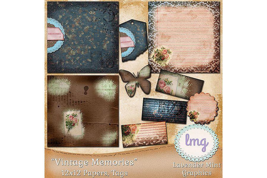 Vintage Memories Digital Scrapbook Papers example image