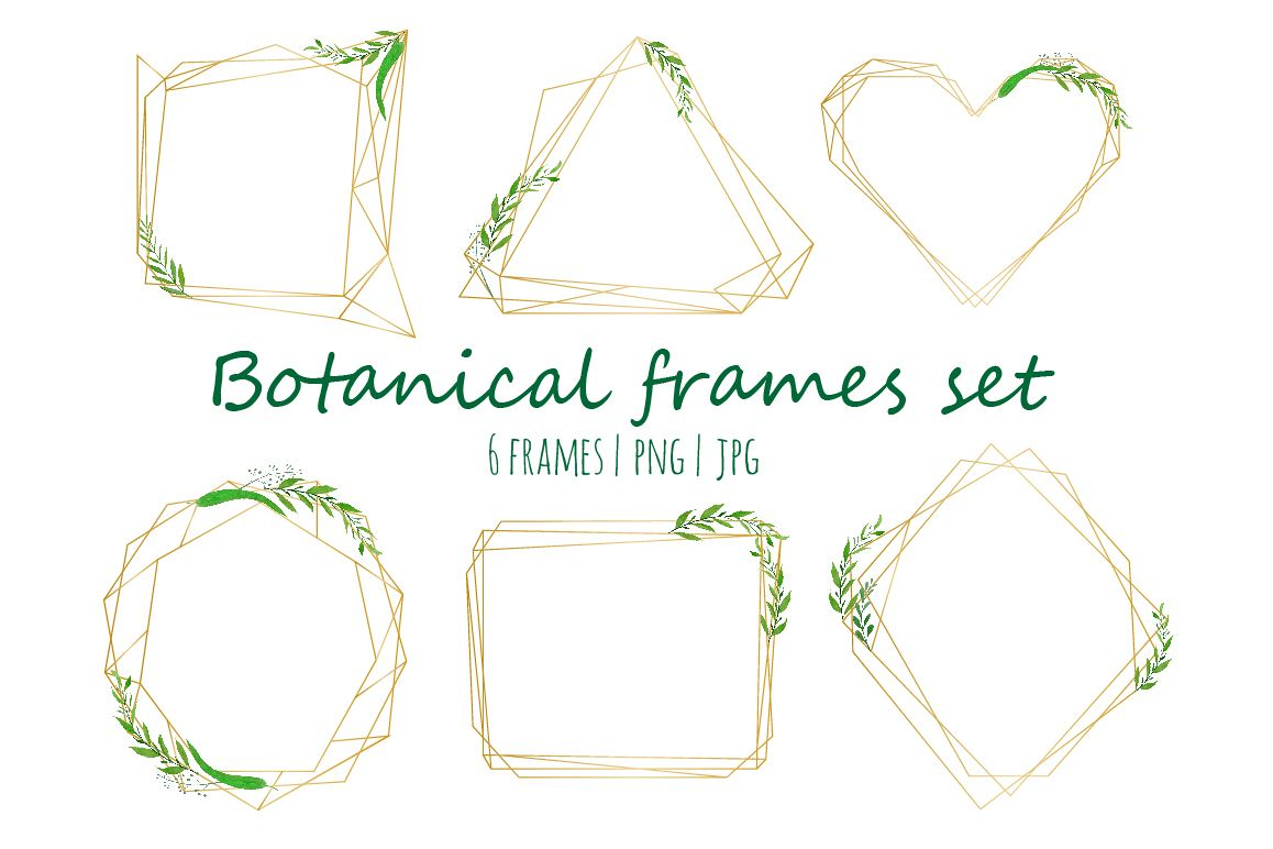 Geometrical frames with watercolor by K | Design Bundles