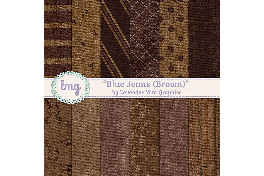 Brown Blue Jeans Digital Papers example image