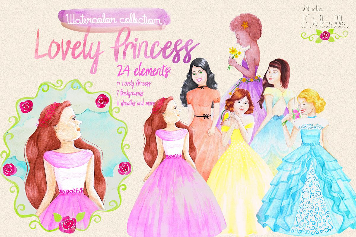 Lovely Princess - watercolor clipart example image