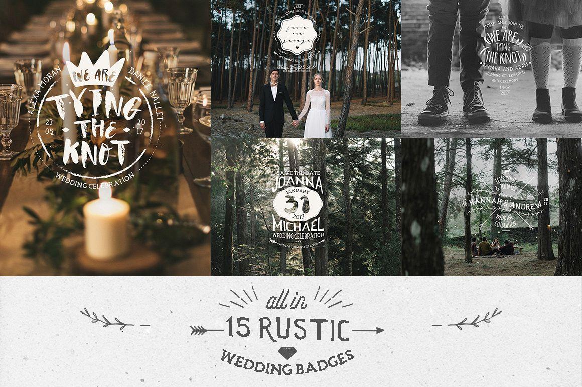 Rustic Wedding Badges & Sticker example image 3