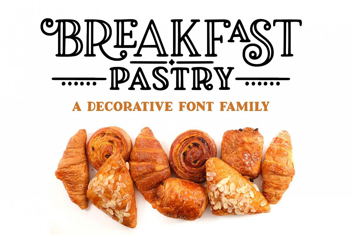 Breakfast Pastry a decorative font family! example image