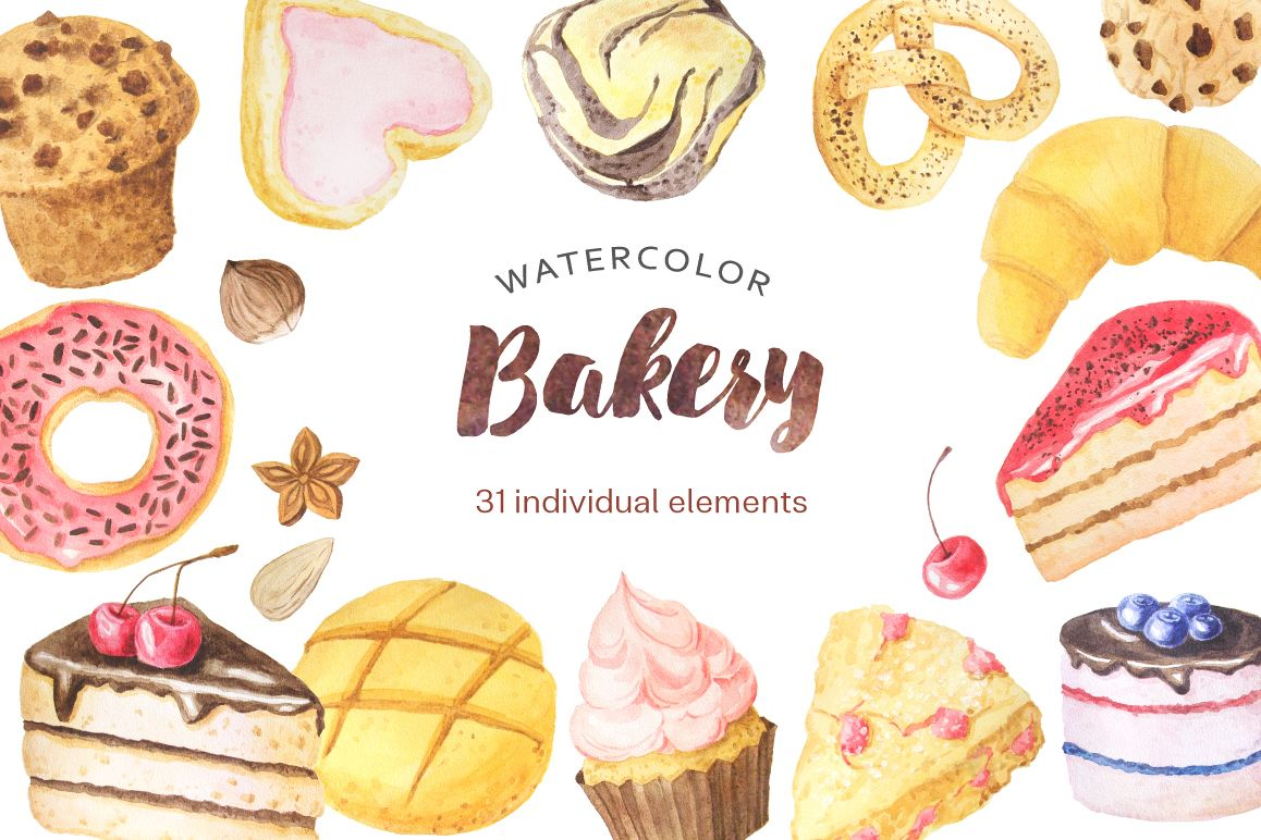 Watercolor Bakery Set example image
