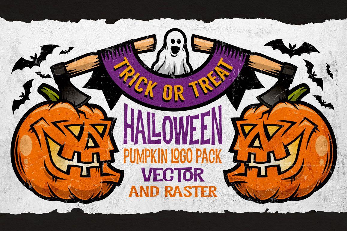 Halloween Pumking Logo Set example image