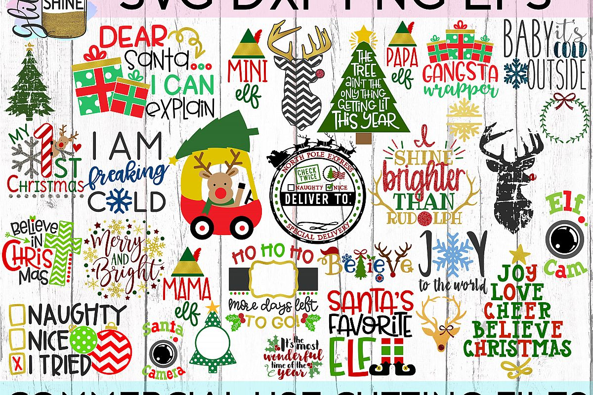HUGE Christmas Bundle SVG DXF PNG EPS Cutting Files example image