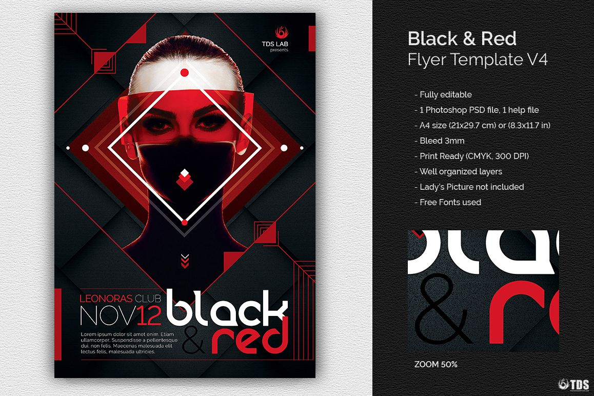 Black and Red Flyer Template V4 example image