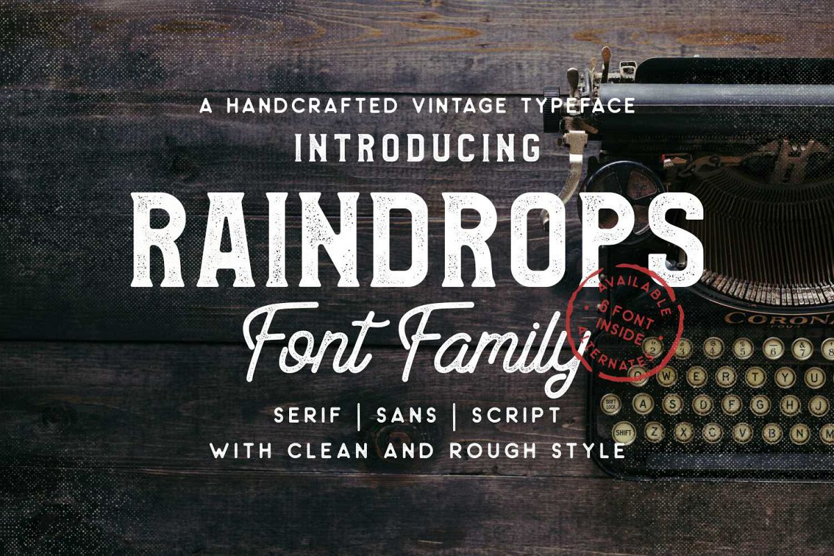 Raindrops Font Family  example image