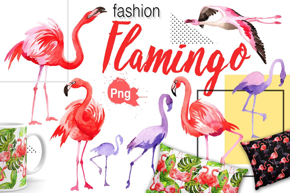 Flamingo fashion watercolor PNG set by | Design Bundles