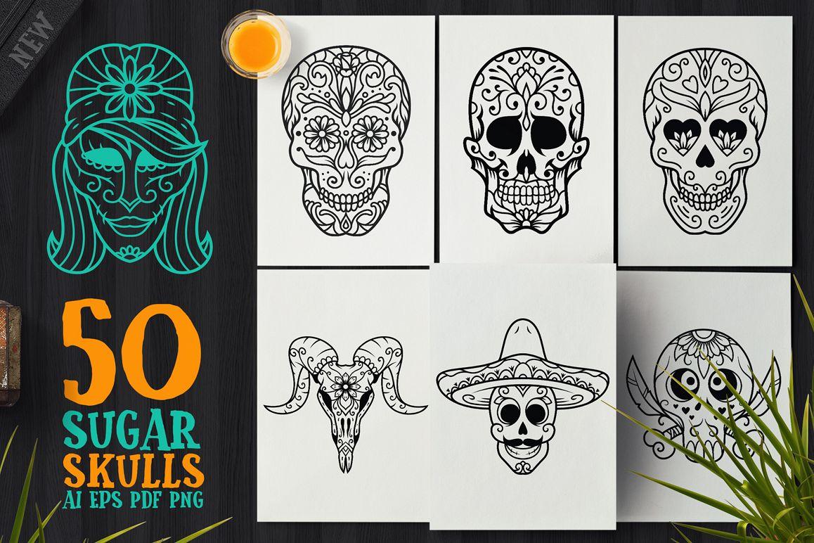 50 Vector Sugar Skulls example image
