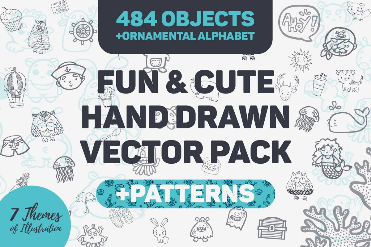 Fun cute hand drawn vector pack patt design bundles fun cute hand drawn vector pack patterns example image altavistaventures Image collections