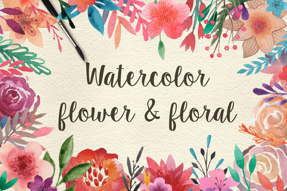 159 Watercolor flowers & florals example image