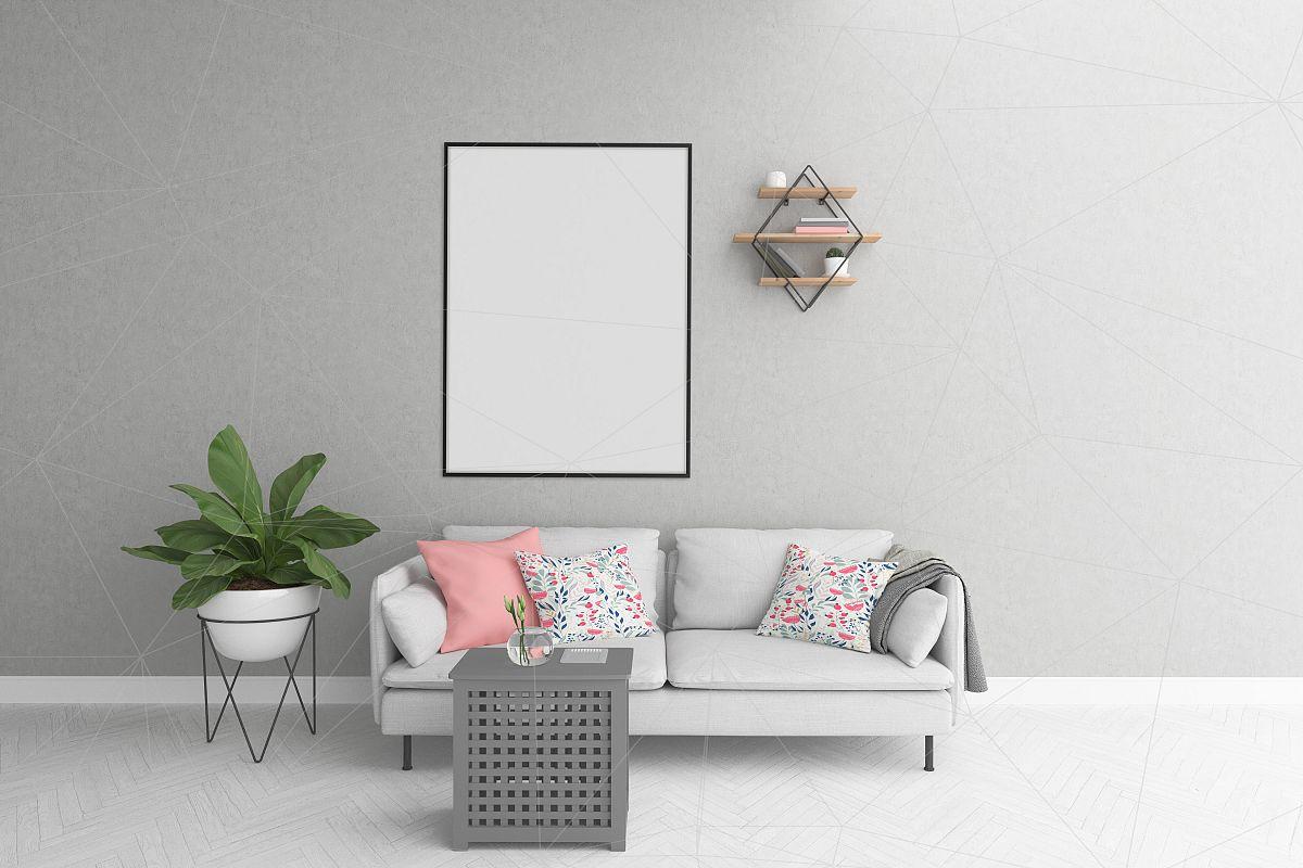 Vertical frame mockup - smart object by | Design Bundles