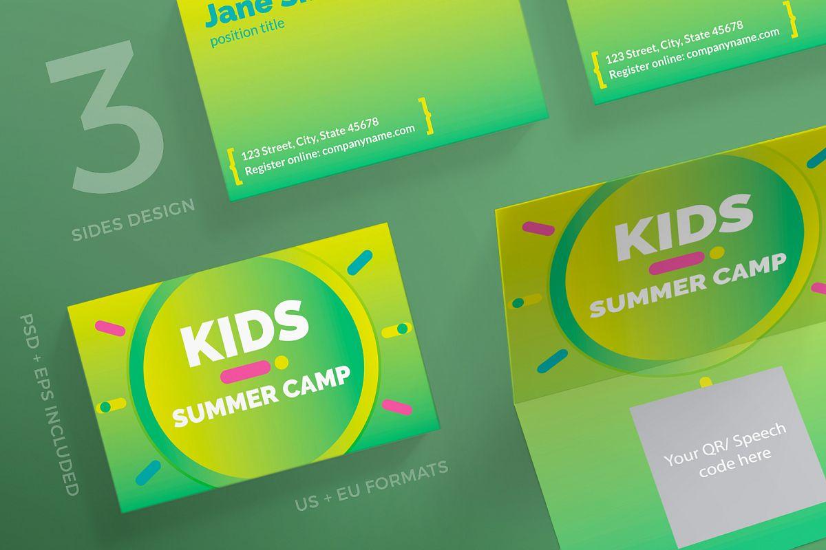 Summer Kids Camp Business Card Design T | Design Bundles