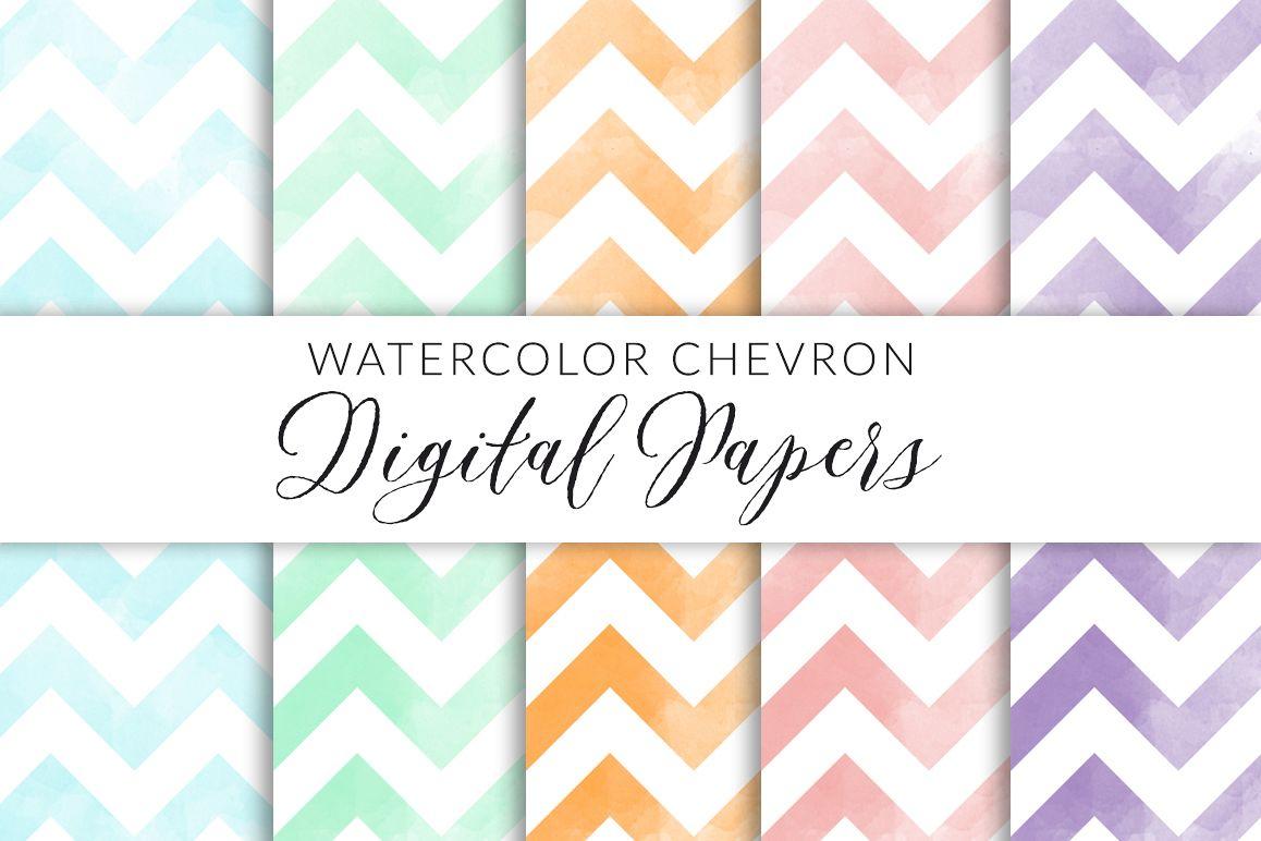 Watercolor Chevron Digital Paper example image