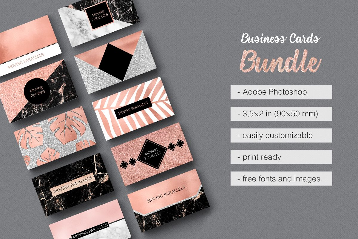 Rose Gold Marble Business Cards Bundle example image