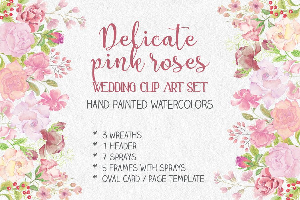 Wedding clip art bundle in blush roses example image