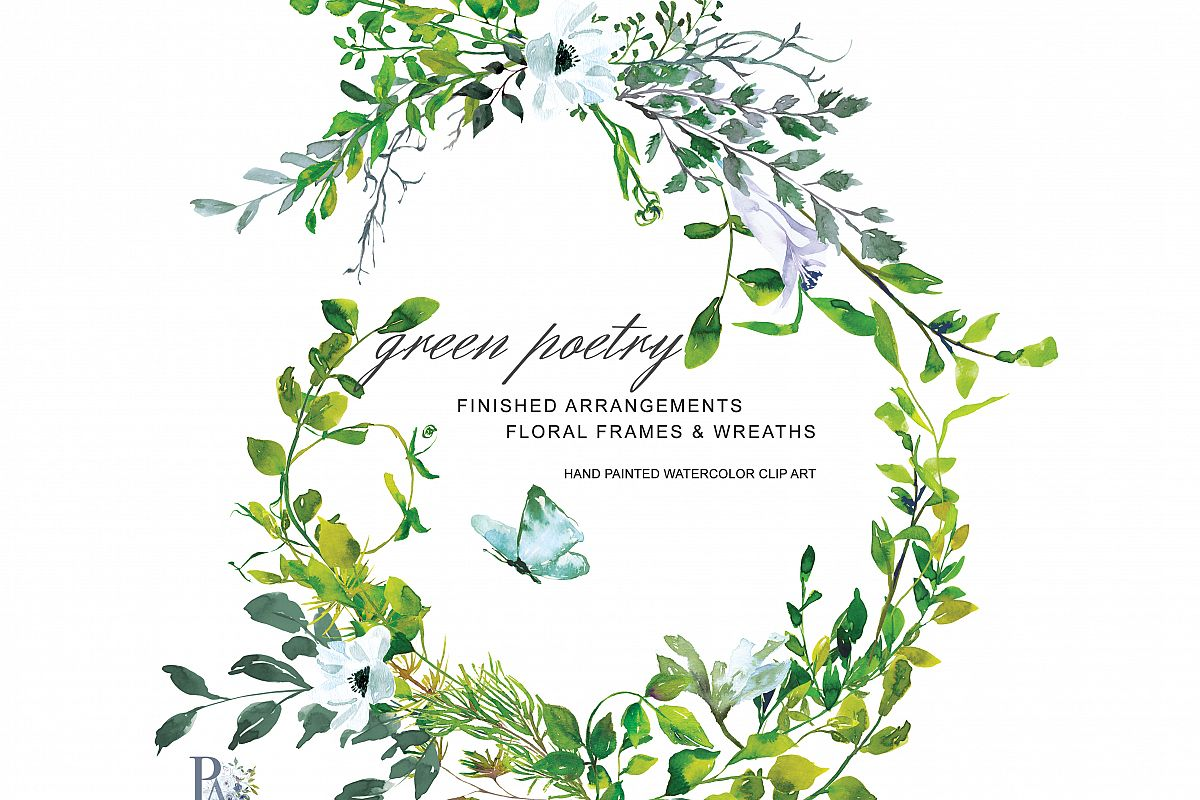 Hand painted watercolor greenery clipar design bundles for Watercolor greenery