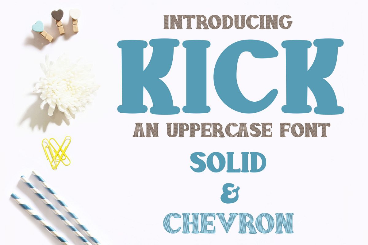 Kick Font - Solid and Chevron example image