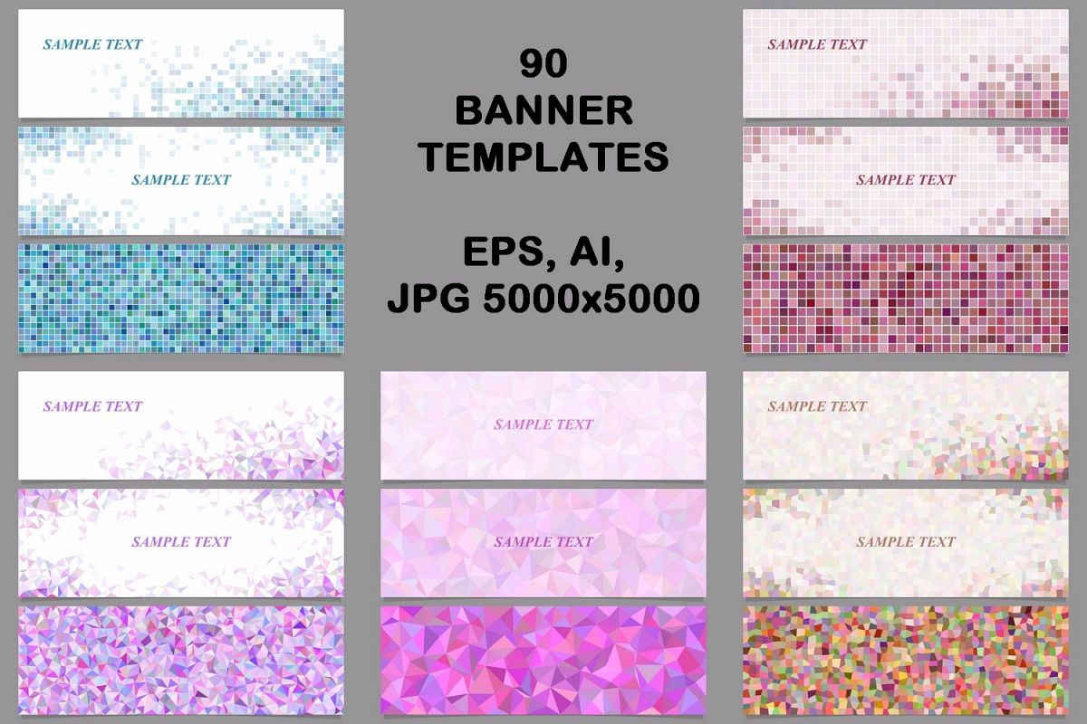 90 mosaic banner template designs (AI, | Design Bundles