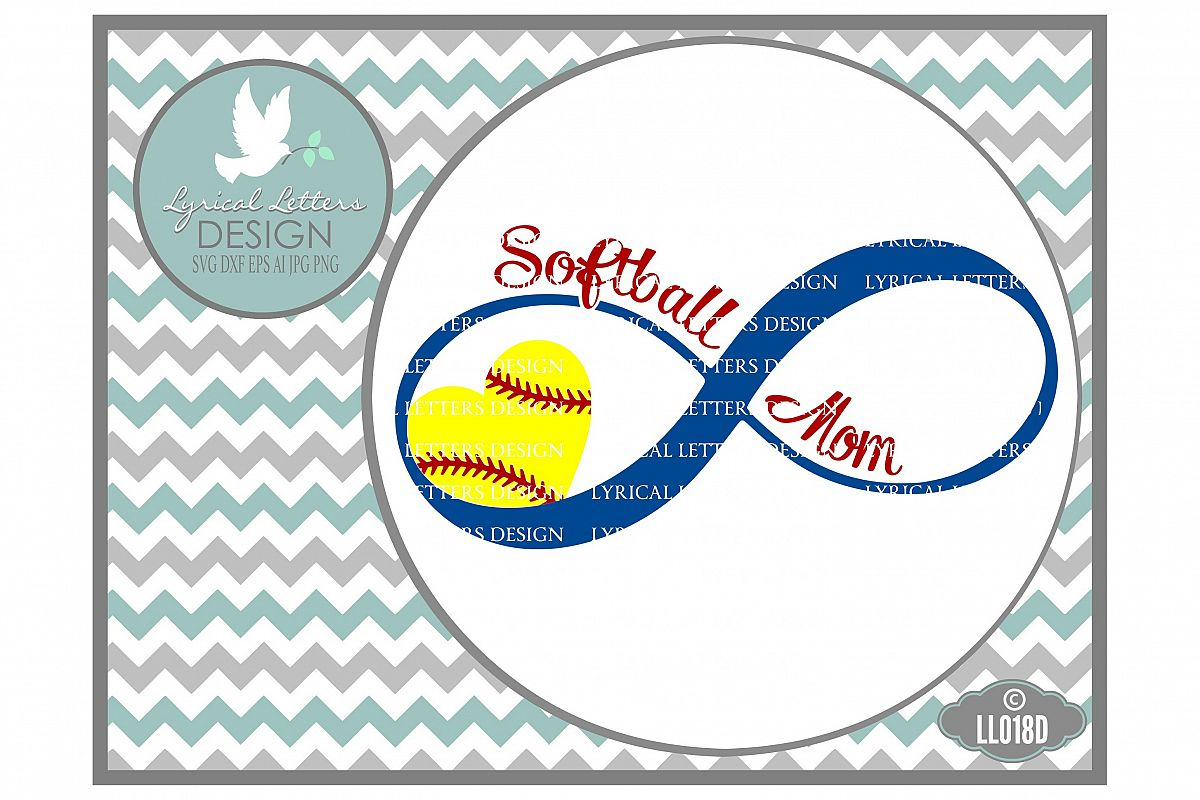 Softball Mom Infinity Sports Cutting File LL018D  SVG DXF EPS AI JPG PNG example image