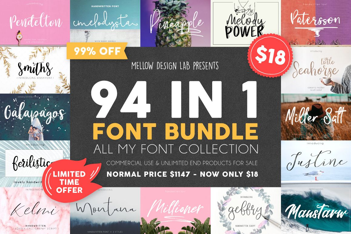 94 IN 1 Font Bundle SALE example image