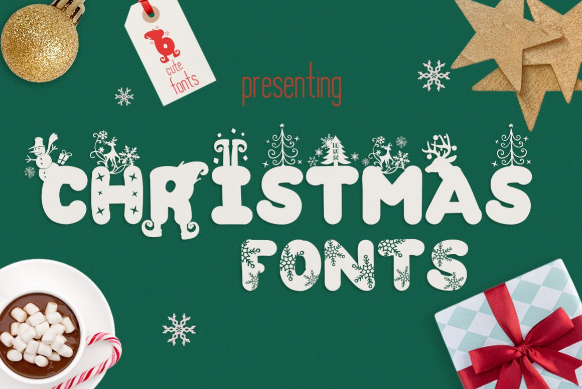 The Christmas Fonts Bundle with 6 Fonts & Bonus example image