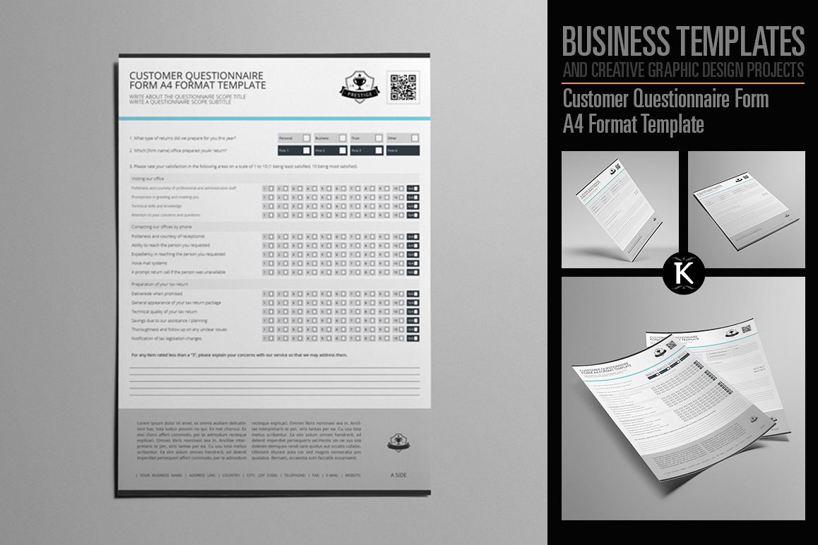Customer Questionnaire Form A4 Format T | Design Bundles
