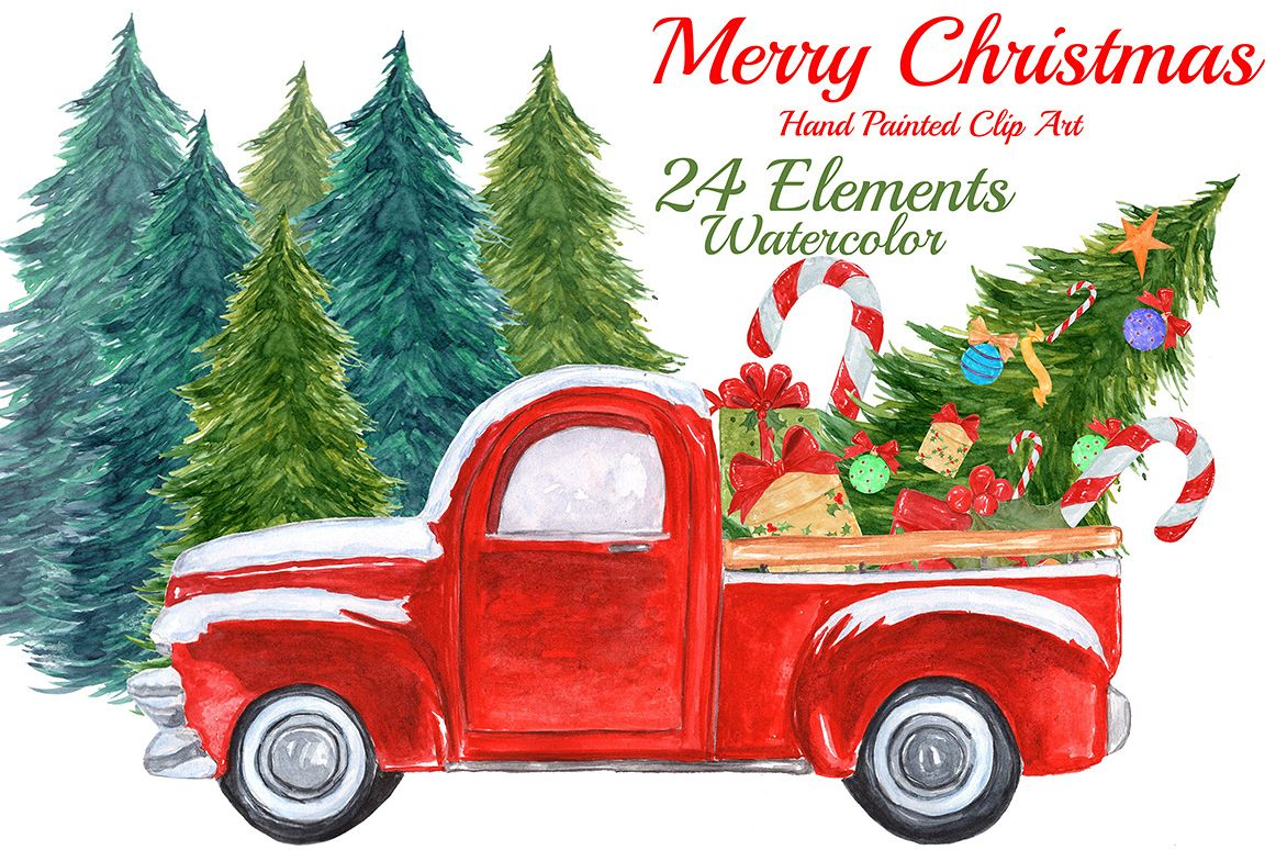 Watercolor Christmas truck clipart example image