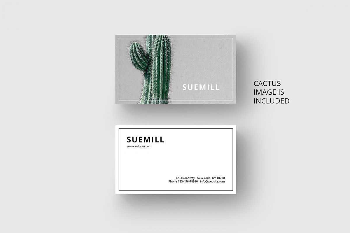 Business card template with cactus by A | Design Bundles