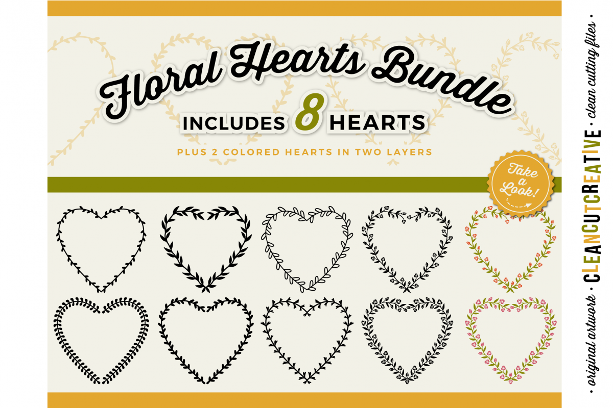 8 svg FLORAL HEARTS floral leaf heart wreath frames - SVG DXF EPS PNG - for Cricut and Silhouette Cameo - clean cutting digital files example image