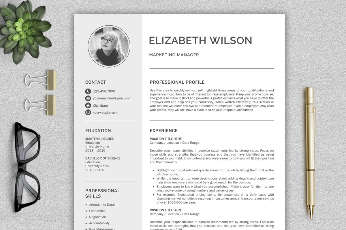 Creative Resume Template, CV Template, Resume Template For Word With Cover  Letter Example Image