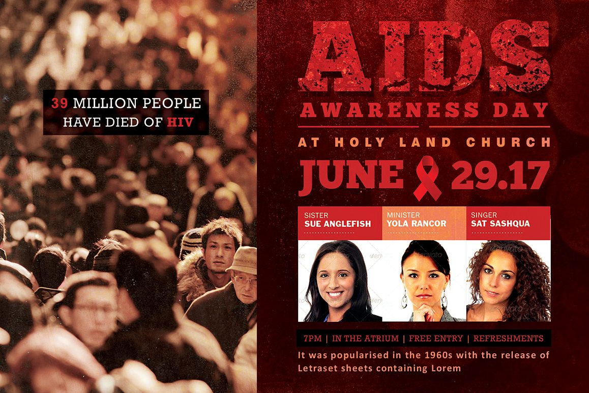 aids awareness flyer photoshop template example image