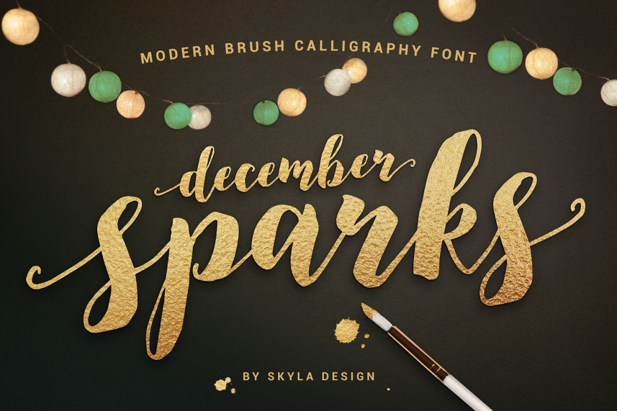 Modern brush calligraphy font december bundles