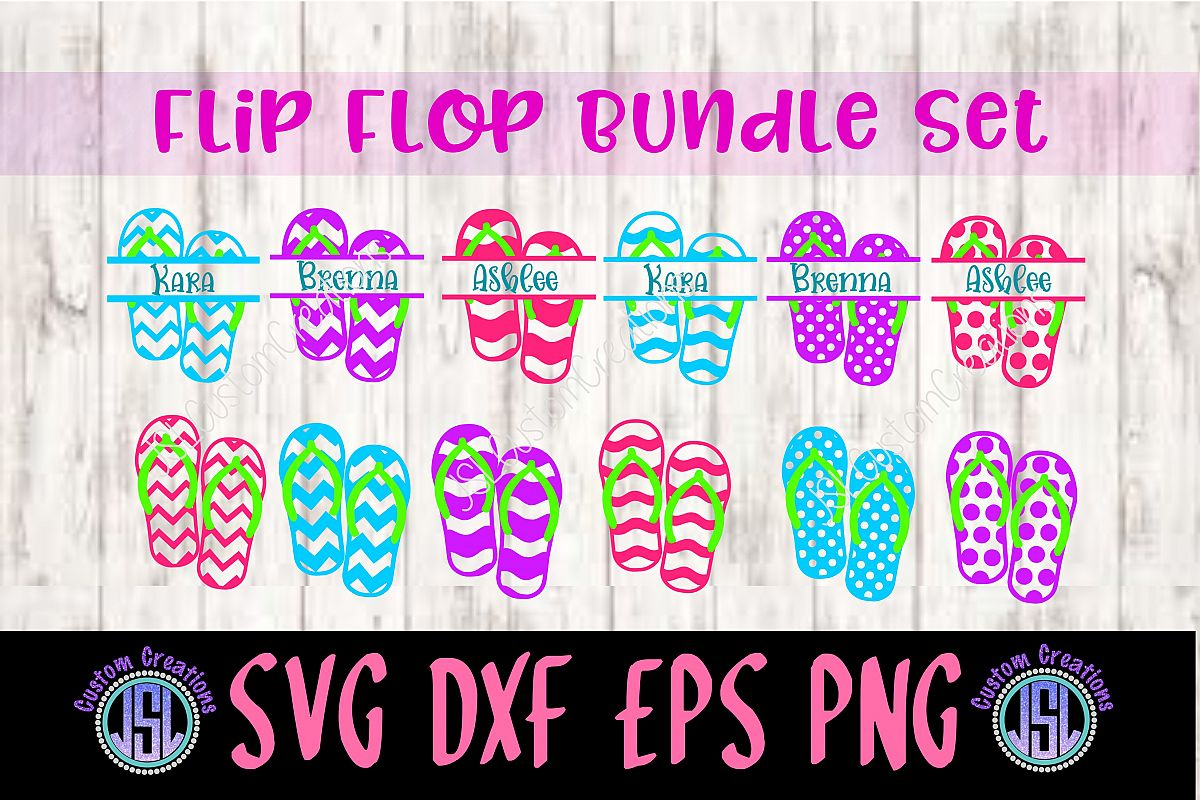Flip Flop Split Name Monogram Frame Set | Design Bundles