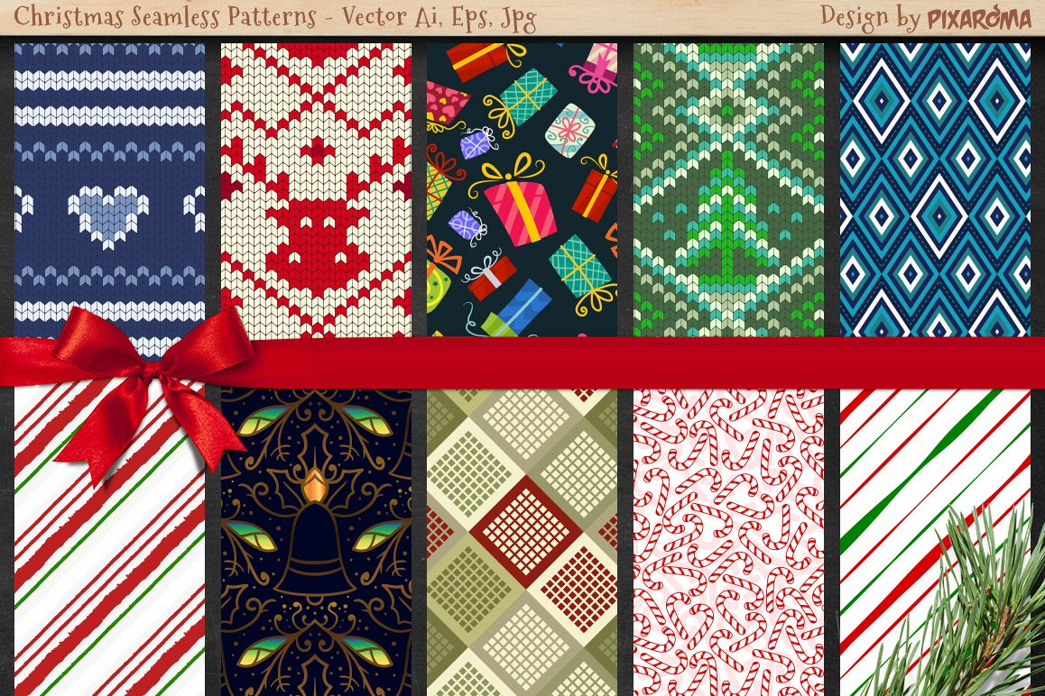 50 Christmas Seamless Patterns example image 2
