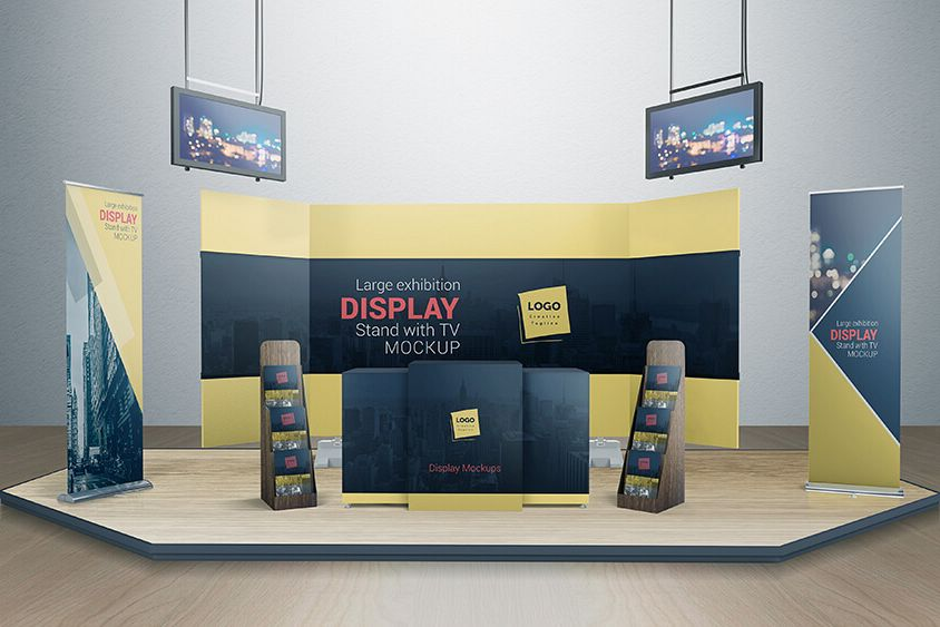 Exhibition Stall Mockup : Various tradeshow exhibition booth mock design bundles