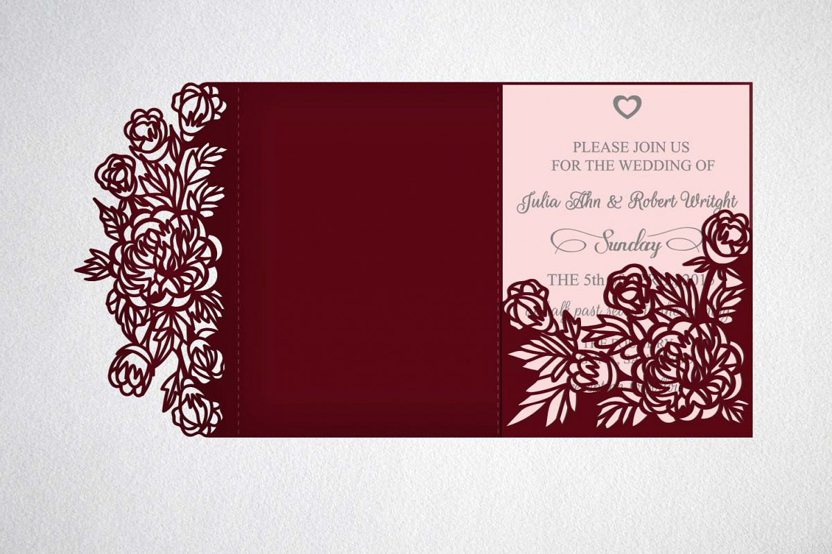 tri fold wedding invitation, svg, cricu | Design Bundles