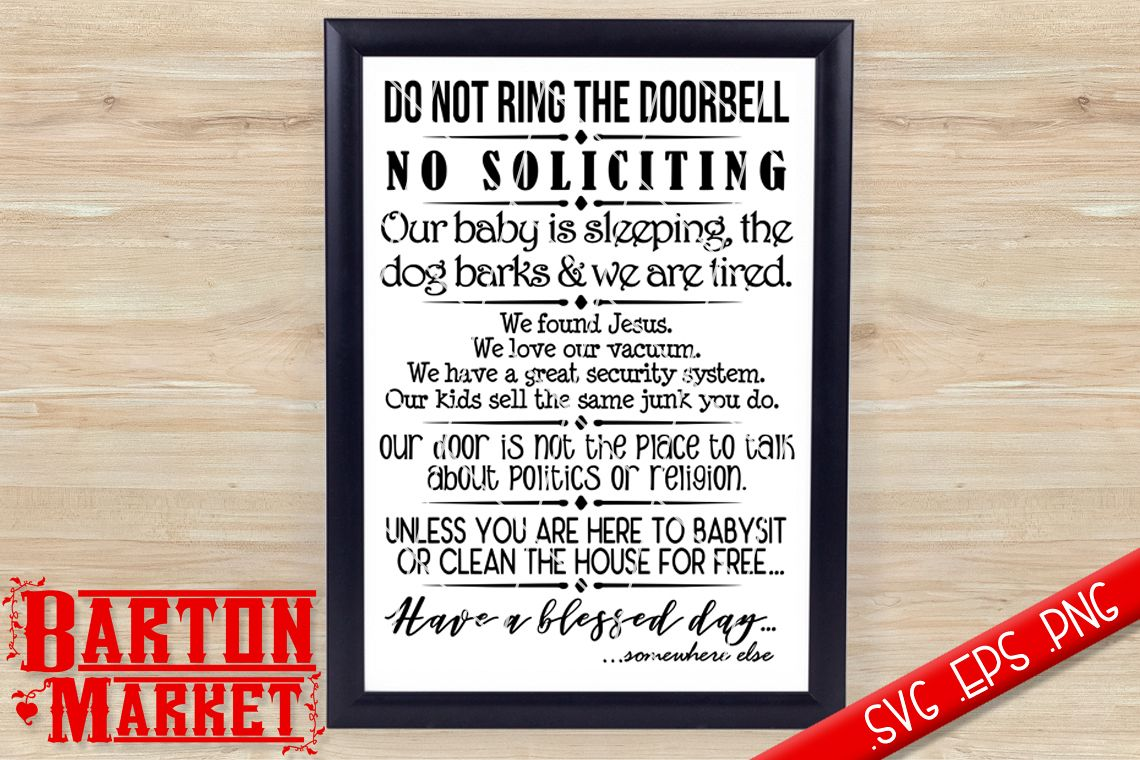 Do Not Ring The Doorbell SVG / EPS / PNG example image