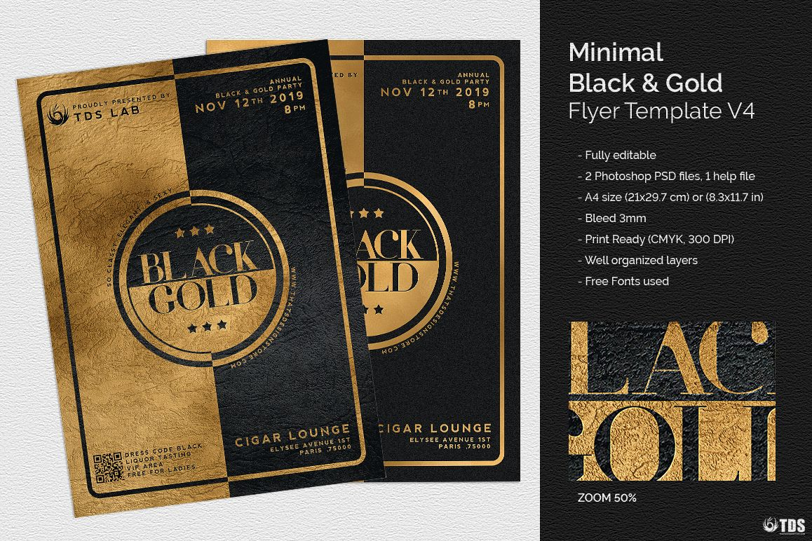 minimal black and gold flyer template v4 example image