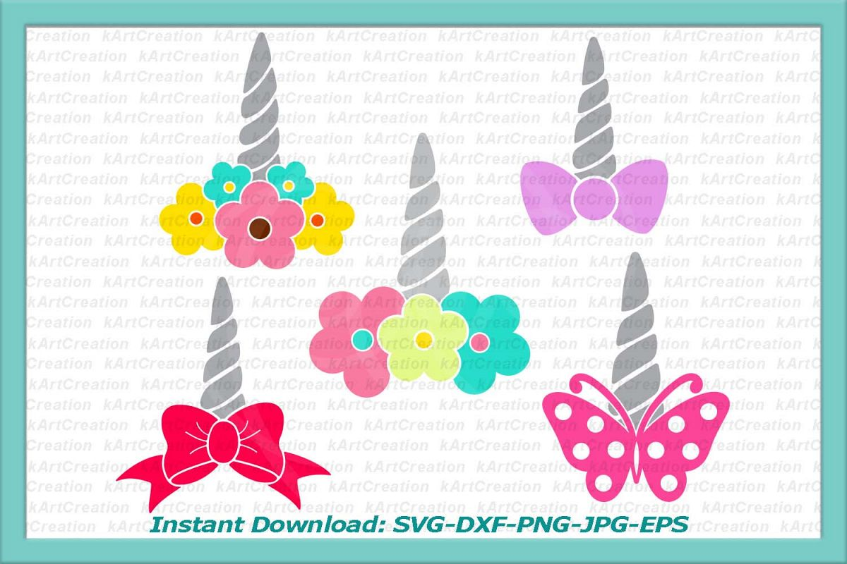 unicorn horn svg, unicorn svg, unicorn face svg, unicorn svg file, unicorn with flowers svg, unicorn horn iron on, bow svg, butterfly svg example image