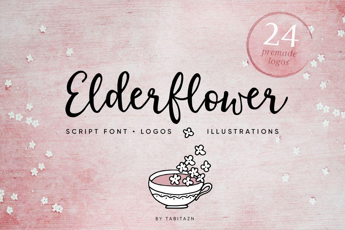 Elderflower script + logos example image