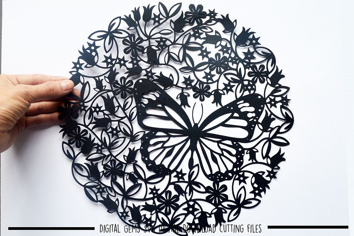 Butterfly paper cut SVG / DXF / EPS files example image