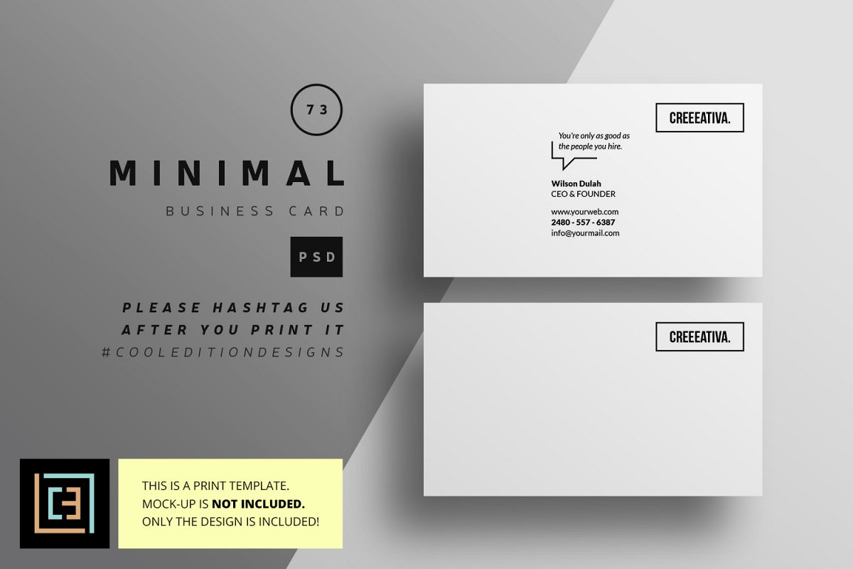 Minimal business card bc073 by cooled design bundles minimal business card bc073 example image reheart Choice Image