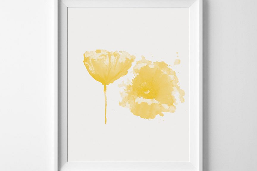 Yellow Wall Art, Watercolor Print, Flow | Design Bundles