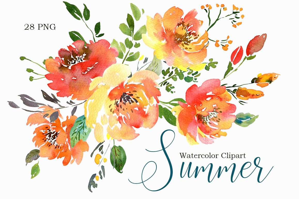 76104 Summer Orange Watercolor Flowers Png Collection on Blue Border Clip Art