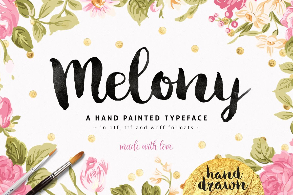 Melony Script, Hand Drawn Brush Font example image